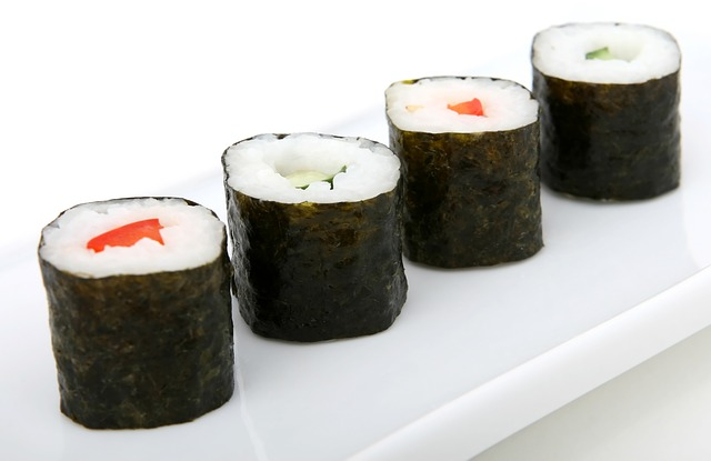 sushi on a dinner plate