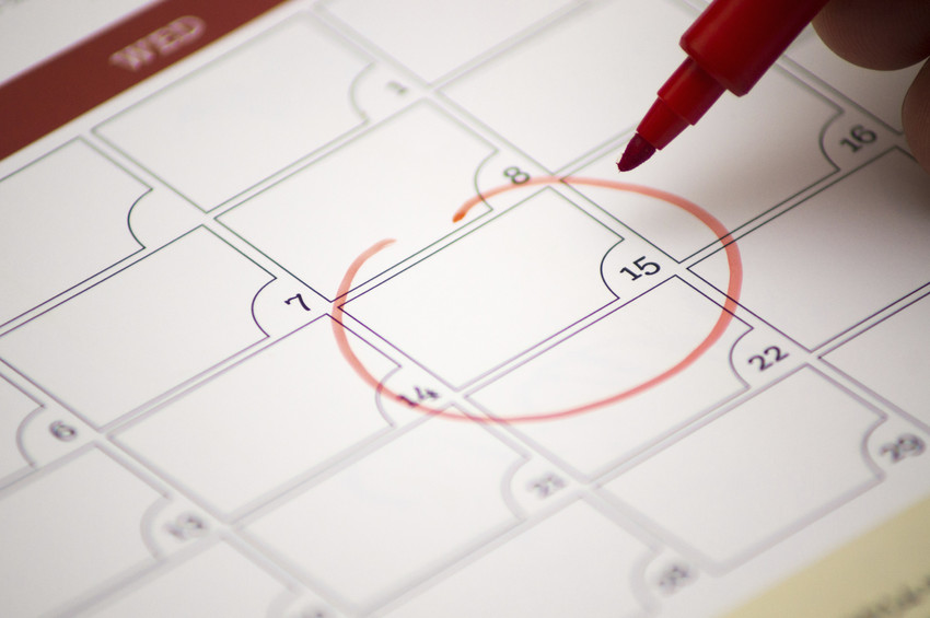 red circle around calendar date